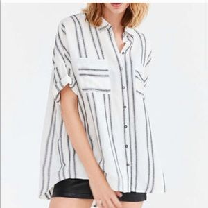 ANTHRO Silence + Noise Striped Joey Shirt—M
